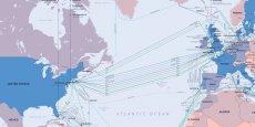 Actuellement, près de 300 câbles sous-marins traversent les océans, comme le montre cette carte du site TeleGeography.