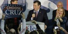 Les caucus de l'Iowa représentent traditionnellement, depuis une quarantaine d'années, la toute première étape du processus de sélection des candidats des grands partis en vue de la présidentielle du mois de novembre. Le candidat Ted Cruz hier soir, savourant la victoire de cette première manche.