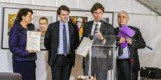 Laurence Gelie (SGAC), Laurent-Guillaume Guerra (Suez Eau France), Grégoire Maës (Suez Bordeaux Guyenne) et Thierry Geoffroy (Afnor Certification)