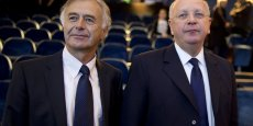 Philippe Peticolin, le directeur général de Safran, et Ross McInness, le président du conseil d'administration de Safran.