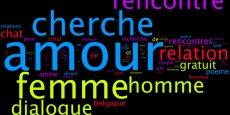 WordCloud résumant les 1 000 recherches les plus populaires sur le thème de la rencontre en ligne (thème pour la Saint-Valentin).