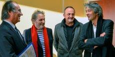 De gauche à droite : François Commeinhes,  l'architecte sétois Pierre Di Tucci, Christophe Durand, vice-président délégué à la culture de Thau Agglo et Rudy Ricciotti.