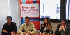 Julien Hostache, André Deljarry, Stéphanie Andrieu et Bruno Poty, le 8 mars 2016, pour la présentation du Forum du financement.