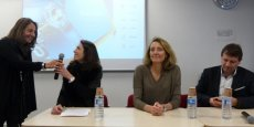 De gauche à droite : Catherine Pommier (BIC), l'adjointe au maire de Montpellier Sonia Kerangueven, Agnès Paillard et Philippe Lattes d'Aerospace Valley.