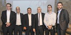 Dominique Seux (Les Échos), Jean-Claude Gallo (Objectif LR), Jalil Benabdillah (SDTech), Philippe Sauveplane (président de l'ordre des experts comptables de Montpellier), l'économiste Nicolas Bouzou et Stéphane Marcel (Smag) lors de la soirée Éco Zoom 2016.