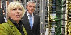 Patricia Goriaux, directrice Orange Sud, et Philippe Saurel, maire de Montpellier, confirment le bon état d'avancement du chantier « Montpellier 100 % fibre Orange »