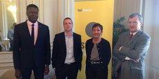 Mame Dieye, directeur régional de Bpifrance Poitou-Charentes, Julien Parrou, président du groupe Concoursmania, Annie Chanteloube-Lambert (Bpifrance Limousin) et Bruno Heuclin (Bpifrance Aquitaine)