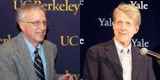 George Akerlof (à gauche), prix Nobel d'économie 2001, est professeur d'économie à Berkeley. Robert Shiller, prix Nobel d'économie 2013, est professeur d'économie à Yale.