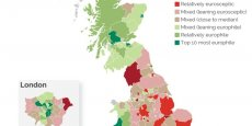 La géographie des forces en présence anti et pro-Brexit (ceci est un extrait statique de la carte qui est à consulter en mode complet et, surtout, interactif sur le site de YouGov - voir lien en pied d'article).