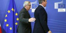 Le Premier ministre britannique David Cameron et le président de la Commission européenne Jean-Claude Juncker à leur arrivée le 28 juin au sommet de Bruxelles.