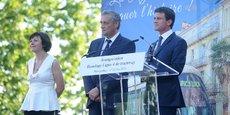 Le Premier ministre Manuel Valls, aux côtés de Philippe Saurel (M3M) et Carole Delga (Région), était en déplacement dans le Gard et l'Hérault le 1er juillet