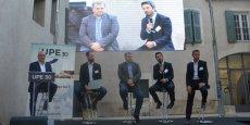 De gauche à droite :  Jean-François Boyer (animateur) ; Benoît Sabatier, directeur du développement de La Gazette ; Jean-Baptiste Piacentino, directeur général de Qwant ; Stéphane Gaffori (micro), directeur régional de Clear Channel et Frédéric Salles, P-dg de Matooma.