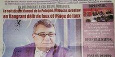L'hebdomadaire togolais Actu Express a souligné le 6 avril dernier que l'État reprochait à l'homme d'affaires Jaroslaw Klapucki, condamné à 7 ans de prison en France, des faux et usages de faux