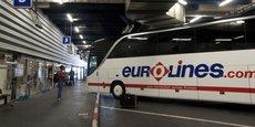 Un autocar Eurolines en attente de départ à la gare routière de Bagnolet, à l'est de Paris.
