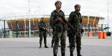 L'armée brésilienne sécurisant le complexe olympique de tennis.