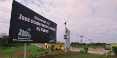 En 2014, le pétrole représentait environ 40 % du PIB, 45 % des recettes publiques et près de 85 % des exportations (source FMI). Sur la photo, la zone économique spéciale en périphérie de la capitale Libreville.