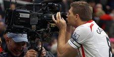 Le milieu de terrain de Liverpool Steven Gerrard célébrant un but en 2014.