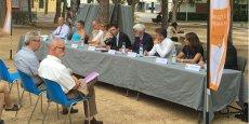 F. Lorente (au centre) et son équipe de direction, présente les priorités de l'UPVD pour la rentrée 2016