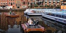 Simulation de la présence de roboats circulant sur les canaux d'Amsterdam.