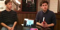 Julien Bayou (à droite) présentant son livre Kerviel : une affaire d'Etat en septembre dernier, à la veille de l'arrêt de la Cour d'appel de Versailles qui a reconnu la Société Générale partiellement responsable des pertes qu'elle a subies ed son ex-trader.