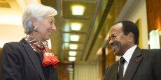 Christine Lagarde, directrice générale du FMI, en compagnie du président Camerounais, Paul Biya.