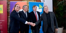 L'accord a été signé par F. Commeinhes (Thau Agglo), P. Saurel (M3M), Y. Lachaud (Nîmes Métropole Agglomération) et M. Roustan (Alès Agglomération)