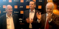 Présents à l'inauguration de la première boutique  Orange à Casablanca, vendredi 9 décembre : Stéphane Richard, PDG ;  Yves Gauthier, DG d'Orange Maroc ; Bruno Mettling, patron d'Orange Middle East Africa.