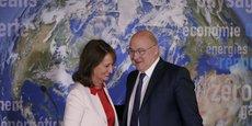 Les ministres Ségolène Royal et Michel Sapin lors du lancement de l'obligation verte, le 3 janvier.