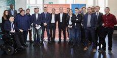 Les lauréats et nominés du Prix La Tribune Jeune Entrepreneur 2017 lors de la sélection régionale Ile-de-France, à Paris, le jeudi 26 janvier.