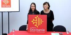 Aux côtés de la présidente Carole Delga, l'auteure du logo, Léa Filipowicz une jeune graphiste de 22 ans, diplômée de l'école Axe Sud de Toulouse.