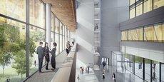 Vue d'architecte de l'Atrium du B 612, le futur bâtiment où doit déménager Aerospace Valley au printemps prochain.