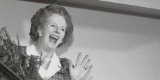 Margaret Thatcher dans les locaux du Conservative campaign office, le 12 juin 1987, au lendemain d'une troisième victoire consécutive des conservateurs lors de l'élection générale.