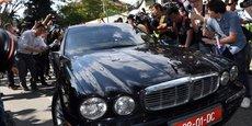L'ambassadeur nord-coréen en Malaisie quitte l'ambassade en voiture, le 7 mars.