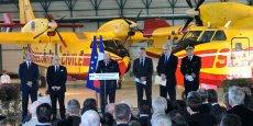 Le Premier ministre B. Cazeneuve, aux côtés des officiels réunis pour l'inauguration de la BASC