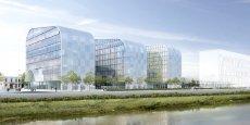 L'hôtel Hilton Garden Inn sera installé dans l'un de ces trois bâtiments du quartier Bordeaux Euratlantique (vus de la Garonne).