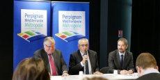 J.-M. Pujol, président de Perpignan Méditerranée, aux côtés de F. Calvet et d'O. Amiel, le 23 mars, pour la présentation de l'action sur le logement social
