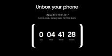 Capture d'écran du site de Samsung, et son décompte pour la présentation du Galaxy S8.