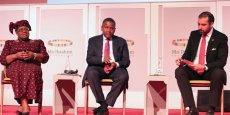 Ngozi Okonjo-Iweala, Aliko Dangote, et Abdelmalek Alaoui lors du MIF