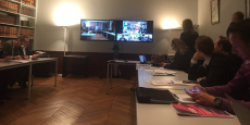 Le multiplexe mis en place par BigUp for Startup, le 11 avril, pour la présentation des appels d'offre lancés par les 15 groupes partenaires