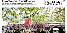 A Rennes aussi, le mètre carré coûte cher : c'est l'un des messages de la campagne de publicité lancée, sur un ton humoristique, par la région Bretagne pour vanter son attractivité à l'occasion de la mise en place de la LGV. Cette ligne à grande vitesse mettra Rennes à 1 h 25 min de Paris, au lieu de 2 h 10 min actuellement.