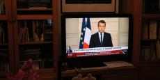 Emmanuel Macron s'exprimant à la télévision jeudi en soirée après l'annonce par Donald Trump du retrait des Etats-Unis de l'accord de Paris sur le climat.
