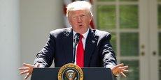 Donald Trump, jeudi 1er juin 2017, annonçant qu'il retirait les Etats-Unis de l'accord de Paris, accord mondial signé fin 2015 par 195 nations pour limiter le réchauffement climatique de la planète.