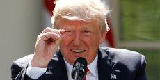 Donald Trump lors de la conférence de presse sur le retrait des Etats-Unis de l'accord de Paris le premier juin dernier.