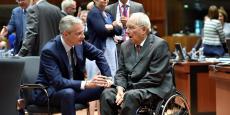 Wolfgang Schäuble à Bruxelles le 23 mai 2017 avec Bruno Le Maire, son nouvel homologue français.
