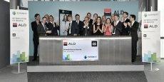 Cérémonie de la cloche ce vendredi matin par l'équipe dirigeante d'ALD Automotive, la filiale de gestion de flottes automobiles de la Société Générale, pour sa première journée de cotation sur Euronext Paris.