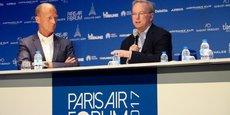 Le face-à-face entre Tom Enders (Airbus) et Eric Schmidt (Alphabet-Google) pour le débat intitulé Numérique-aéronautique, coopération sereine ou turbulences en vue?