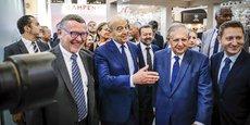 Patrick Seguin, Alain Juppé, Jacques Mézard et Guillaume Deglise, ce matin lors de l'inauguration de Vinexpo à Bordeaux