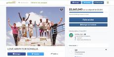 La campagne Love Army For Somalia lancée par Jérôme Jarre, la star des réseaux sociaux, avec la fondation de Ben Stiller, a réussi à récolter 2,66 millions de dollars sur la plateforme GoFundMe pour apporter de l'eau et de la nourriture aux Somaliens frappés par la famine.