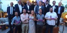 Les quatre lauréats du Train French Tech, entourés des organisateurs et partenaires de l'opération
