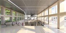 Vue intérieure de la future entrée de la station Saint-Genis-Laval Hôpitaux sud